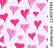 Vintage Seamless Pattern with  Hand Writing Text and Hearts Background. Valentine Vector - stock vector