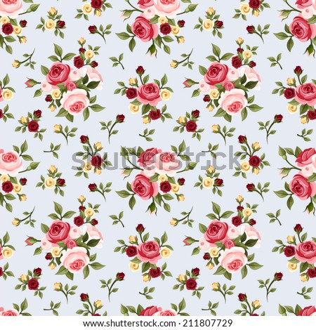 Vintage seamless pattern with pink roses on blue. Vector illustration. - stock vector