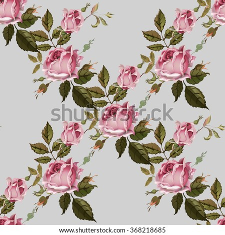 Vintage seamless pattern with roses. Old style. - stock vector
