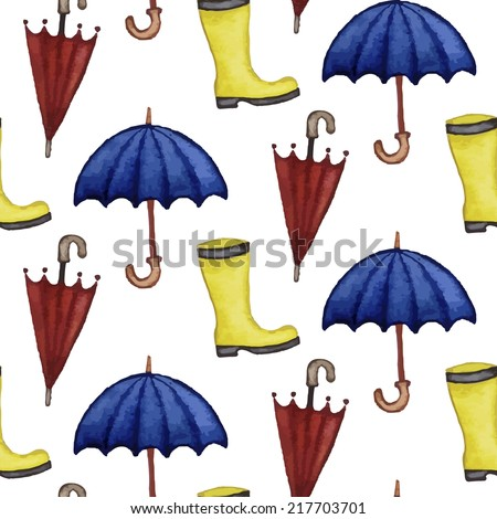 Vintage seamless pattern with rubber boots and umbrellas. Watercolor paint. Autumn theme.  - stock vector