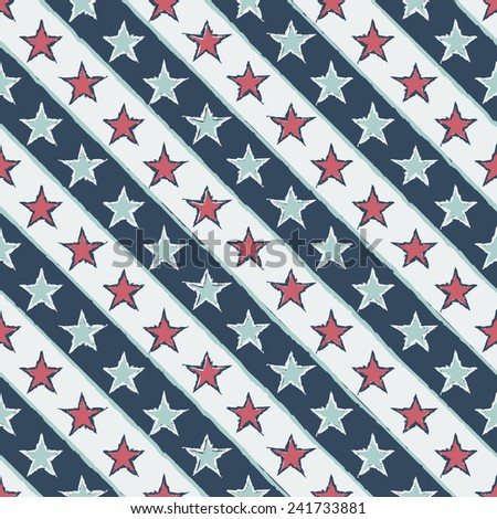vintage seamless pattern with stars - vector illustration - stock vector
