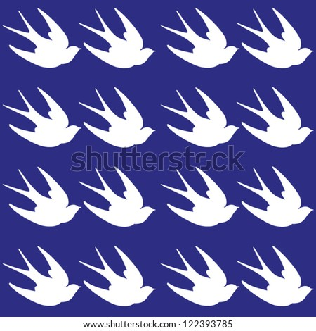 Vintage seamless pattern with swallows. Birds background. Vector illustration - stock vector