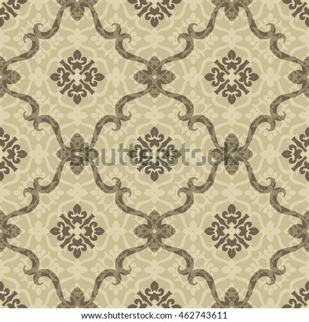 Vintage seamless pattern with Victorian motives, TILE, shades of brown. Classic tile pattern with abstract decorative elements inside