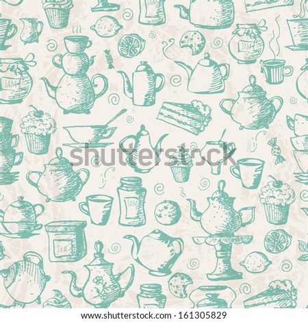 Vintage seamless tea background with cakes, teapots, cups, jam, lemons and candies. Can be used for wallpaper, pattern fills, textile, web page background, surface textures. Vector illustration.  - stock vector