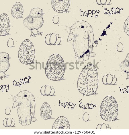 Vintage seamless texture about Easter. Vector illustration EPS8 - stock vector