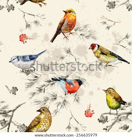 vintage seamless texture of little birds. watercolor painting - stock vector