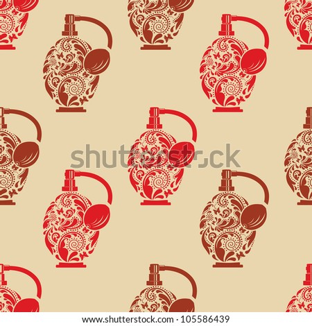 Vintage seamless texture with beautiful perfume bottle. - stock vector