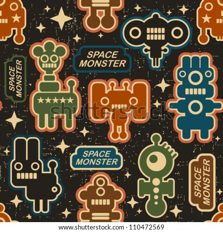 Vintage seamless texture with monsters and robots. Vector pattern in retro style. - stock vector