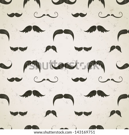 Vintage seamless texture with moustaches on aged paper. Can be used for wallpaper, pattern fills, textile, web page background, surface texture - stock vector