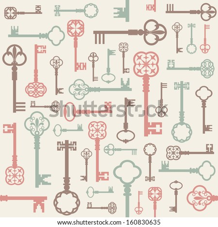 Vintage seamless vector background with different antique keys in pastel colors.