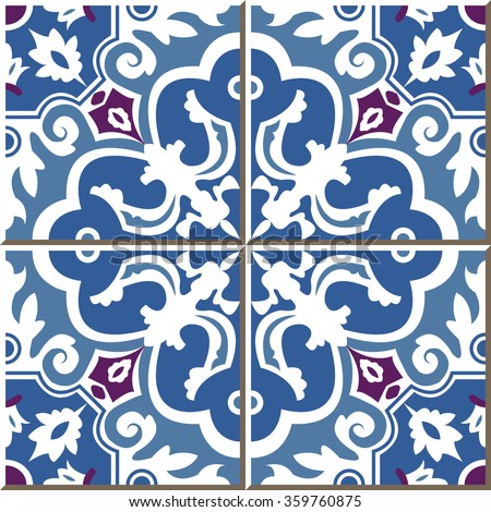 Wall tiles of blue spiral flower moroccan portuguese vintage tile