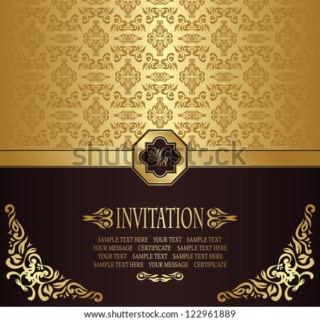 Vintage seamless wallpape. Can be used as invitation - stock vector