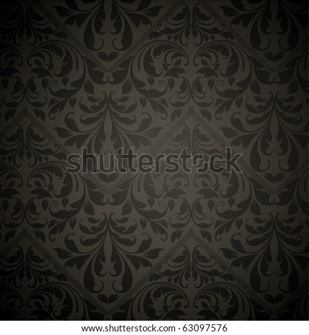 Vintage seamless wallpaper pattern with leafs and flowers for retro design, black - stock vector