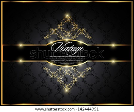 Vintage seamless wallpaper with a gold frame. Can be used as invitation - stock vector