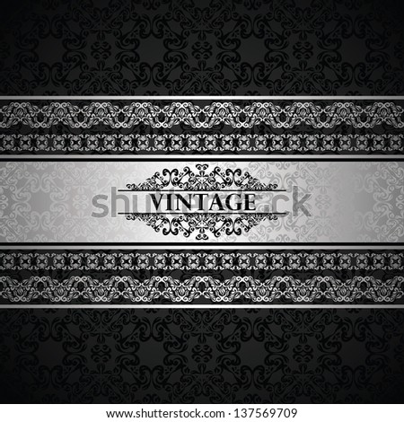 Vintage seamless wallpaper with a silver frame. Can be used as invitation or card - stock vector