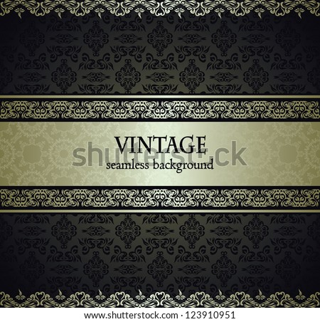 Vintage seamless wallpaper with a silver ribbon. Can be used as invitation - stock vector