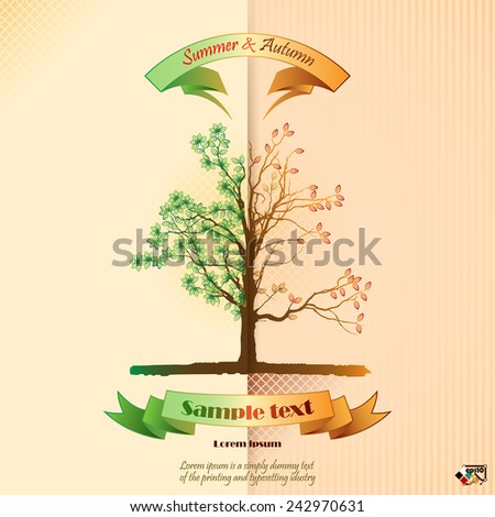 Vintage seasons scene with subtle colors change from Summer to Autumn on tree foliage and banner for text. - stock vector