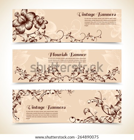 Vintage sepia ornate flourish butterfly horizontal banner set isolated vector illustration - stock vector