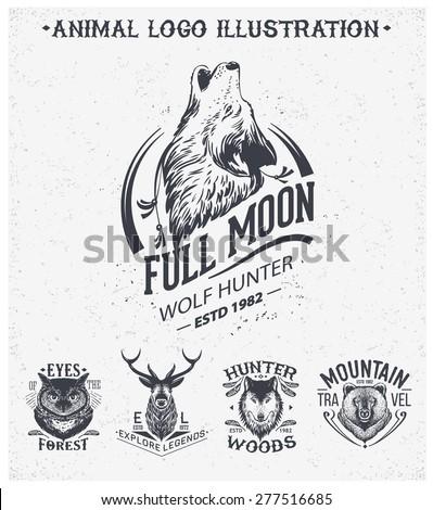 Vintage set animal labels & badges. Retro vector design graphic element, emblem, logo, insignia, sign, identity, logotype, poster. - stock vector
