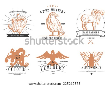 Vintage set animal labels & badges. Retro vector design graphic element, emblem, logo, insignia, identity, logotype, poster. Icon of bird, octopus, ram, butterfly, crow. Hipster sign