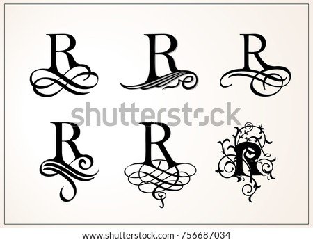 Capital Letter R For Monograms And Logos Beautiful Filigree Font Victorian