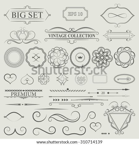 Vintage set decor elements. Elegance old hand drawing set. Outline ornate swirl leaves, acanthus, label, decor elements in vector. Big collection  borders for book, photo album or restaurant menu. - stock vector