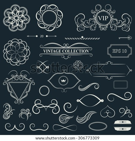 Vintage set decor elements for menu. Elegance old hand drawing set. Outline ornate swirl leaves, label, acanthus elements, shield and decor elements in vector. Signs for writer, wedding or restaurant. - stock vector