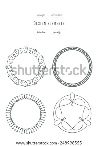 Vintage set - design elements ( round frame ), thin line ( variable line width ) - stock vector