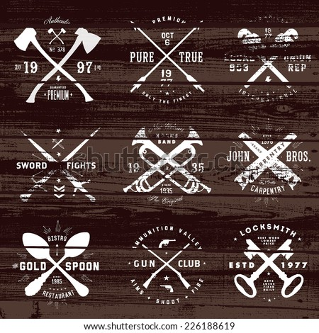 Vintage set of badges on distressed wood background. Easy to edit, all pieces are separated.  - stock vector