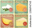 Vintage Set of Cheese Labels. Various Types of Cheese on a Retro Background with place for Price. Vector Illustration. - stock vector