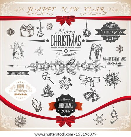 Vintage set of Christmas icons and symbols. Vector illustration. - stock vector