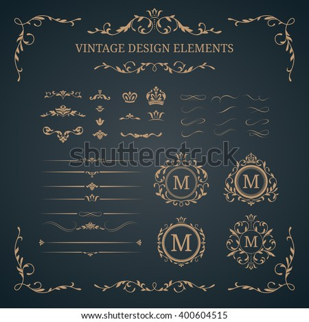 Vintage set of decorative elements - stock vector