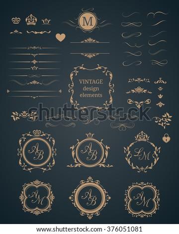 Vintage set of decorative elements. Wedding monograms. Calligraphic elegant ornaments.  - stock vector