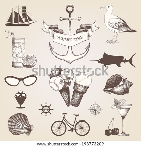 Vintage set of decorative sea elements and ink hand drawn summer holiday illustrations  - stock vector