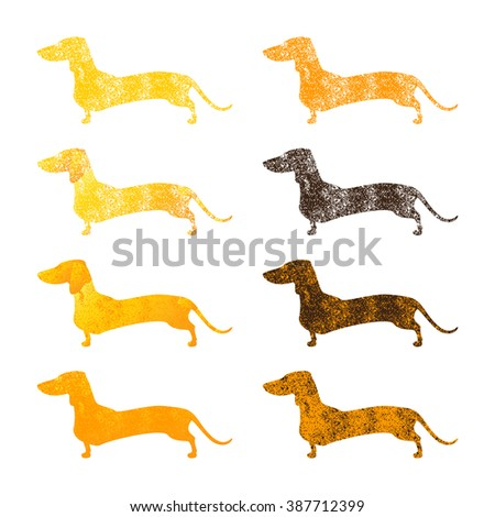 Vintage set of different colored shabby silhouettes of standing dachshunds isolated on white background. Logo templates, design elements - stock vector