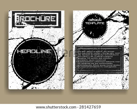 Vintage Set Of Different Grunge Textured Brochures . Retro Flyers , Banners , Posters with Border Frames , Grunge Elements and Distress Textures . Black and White Patterns in Grungy Style . - stock vector
