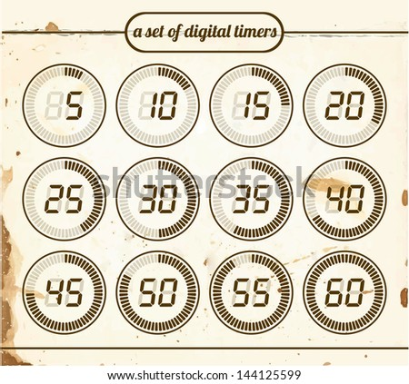 Vintage set of digital timers - stock vector
