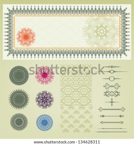 vintage set of element for voucher with guilloche background - stock vector