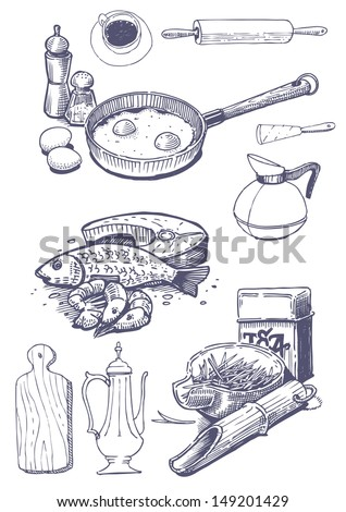 Vintage set of food and kitchen utensils  - stock vector