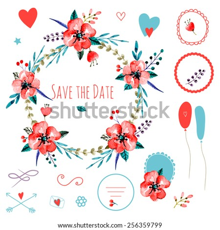 Vintage set of frames and compositions. Cute retro flowers arranged a shape of the wreath. Perfect for wedding invitations and romantic cards. Watercolor vector.  - stock vector