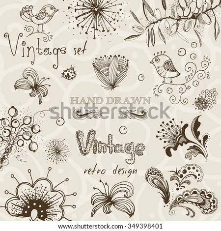 Vintage set of hand drawn decorative vector floral elements for your design. - stock vector