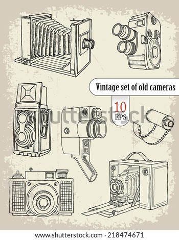 Vintage set of old cameras - stock vector