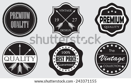 Vintage set of Premium Quality and Best Price labels and badges isolated on white background. Retro style design. Vector illustration. - stock vector