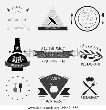 Vintage  set of restaurant, cafe, beer pub or wine bar logos. Vector set of badges, labels and design elements. - stock vector