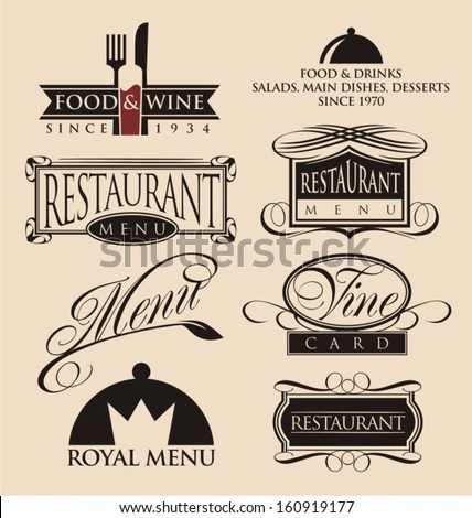 Vintage Set Restaurant Signs Symbols Logo Stock Vector