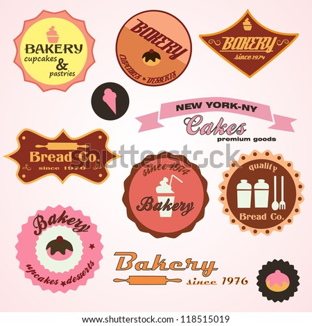 Vintage set of retro bakery - badges and labels, vector illustration. Collection of vintage retro grunge food labels, badges and icons - stock vector