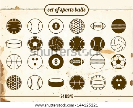 Vintage set of sports balls - stock vector