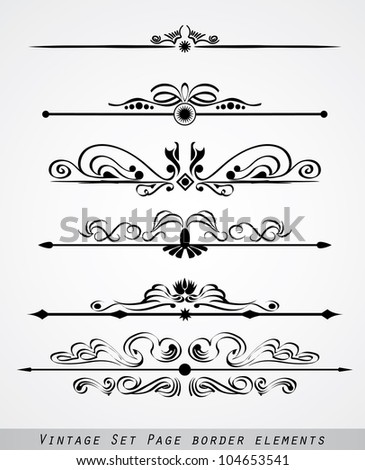 Vintage set page border element - stock vector