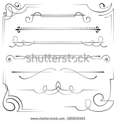 Vintage set vector frame and border with swirls