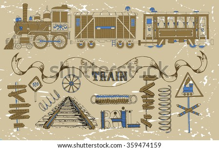 Vintage set with old train theme: locomotive, passenger and cargo wagon, road signs, springs, rails and technical details. Doodle line art illustrations with hand drawn design elements - stock vector